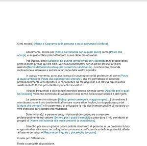 lettera di presentazione autocandidatura