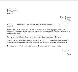lettera di referenze breve